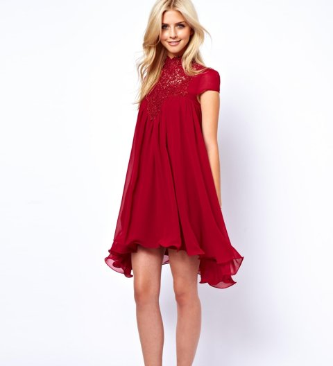 short sleeve red summer dress 2015 by asos