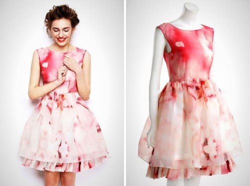 beautiful white-red summer watercolor bubble dress 2015