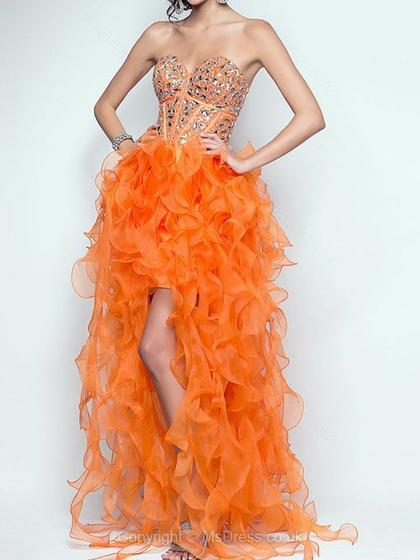 orange high low prom dress 2015