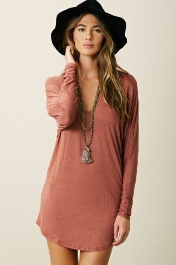 rusty casual summer tshirt dress 2015 with long sleeves
