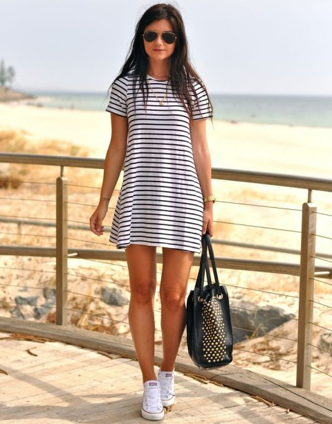 striped tshirt summer dress 2015