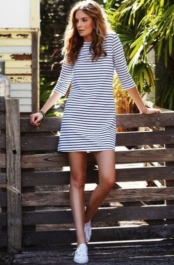 three quarter sleeved striped summer tshirt dress 2015