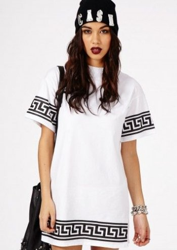 white tshirt summer dress 2015 with greek keyline design