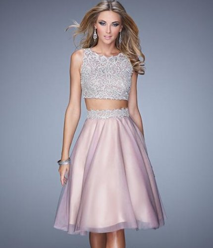 pink grey two piece lace summer cocktail dress 2015-21378