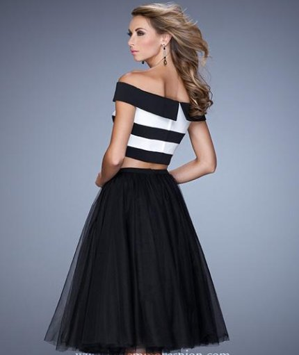 retro black-white two piece summer cocktail dress 2015-21438