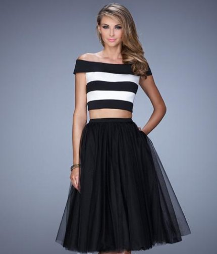 retro black white two piece summer cocktail dress 2015-21438