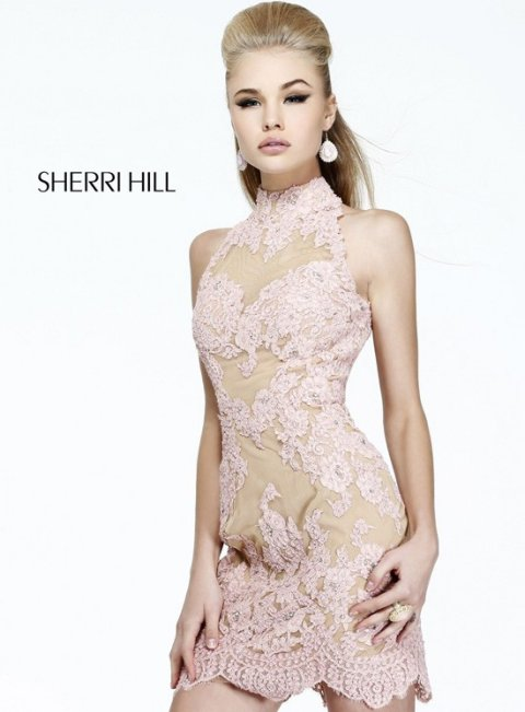 sexy pink nude lace cocktail summer dress 2015 Sherri Hill