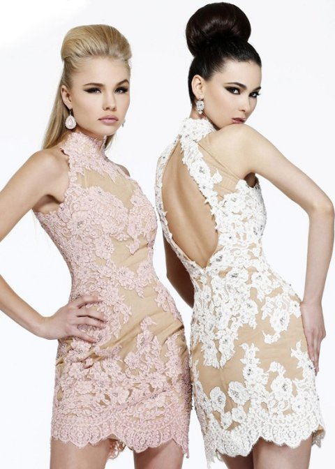 sexy white nude lace cocktail summer dress 2015 Sherri Hill