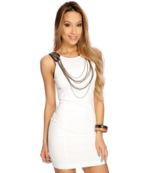 Beaded Chain white summer party dress 2015