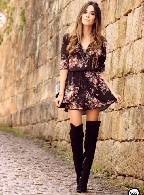 dark floral summer dress 2015