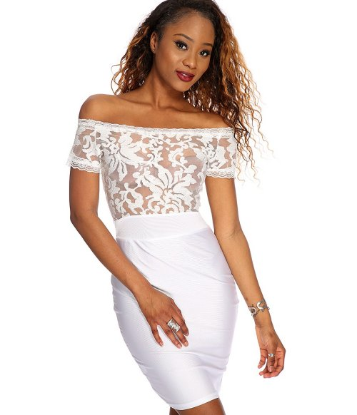 sexy white Off Shoulders lace summer party dress 2015