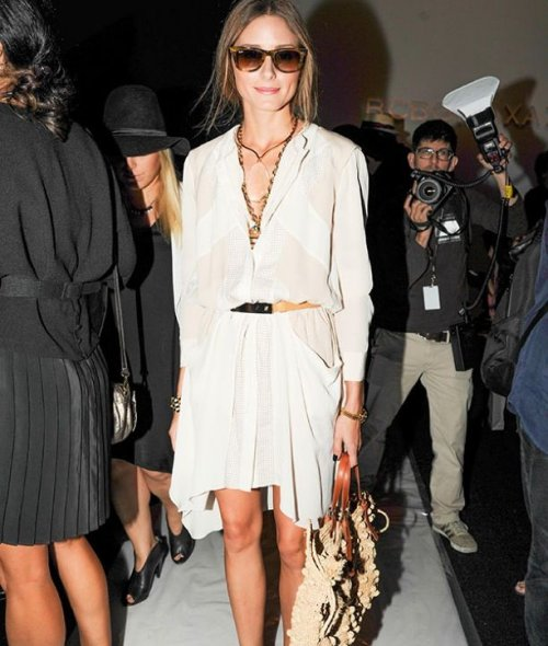 Olivia Palermo in a white flowy spring summer dress 2015 with sleeves