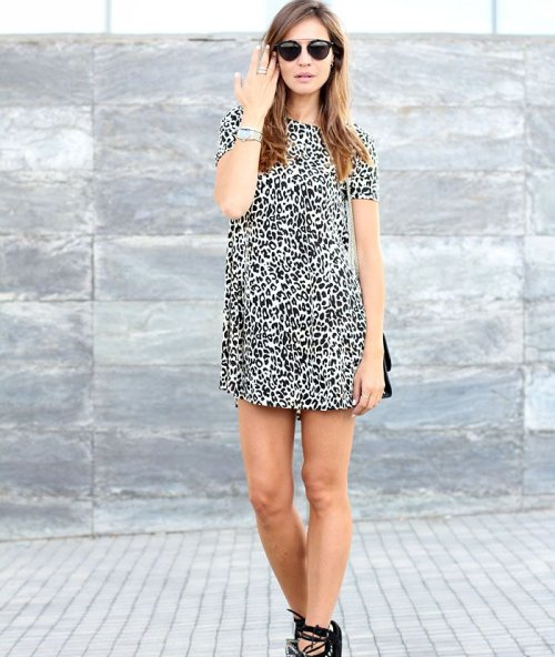 black and white leopart print spring summer dress 2015