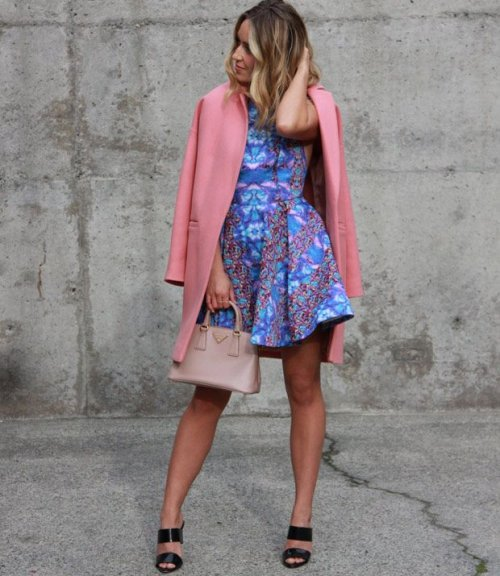 blue pink spring summer dress 2015 -fashionloveaffair