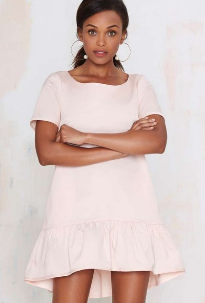 casual dusty pink short sleeve spring dress 2015