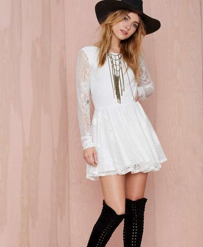 cute casual white lace long sleeve spring dress 2015
