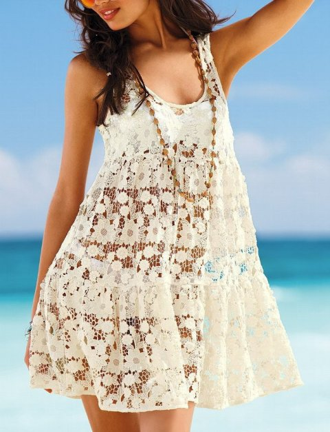 cute cream floral crochet beach cover up 2015