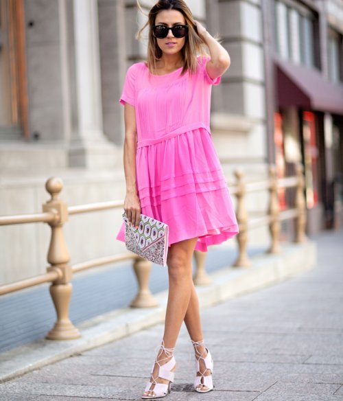 cute hot pink spring summer dress 2015 by French Connection