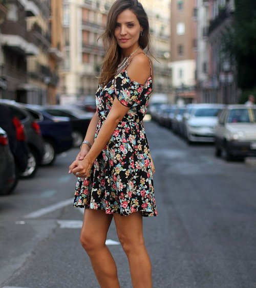 dark floral spring summer dress 2015