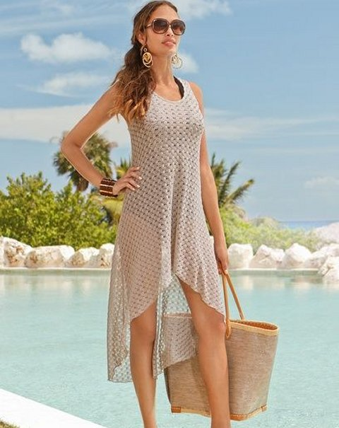 high low beige crochet beach dress 2015