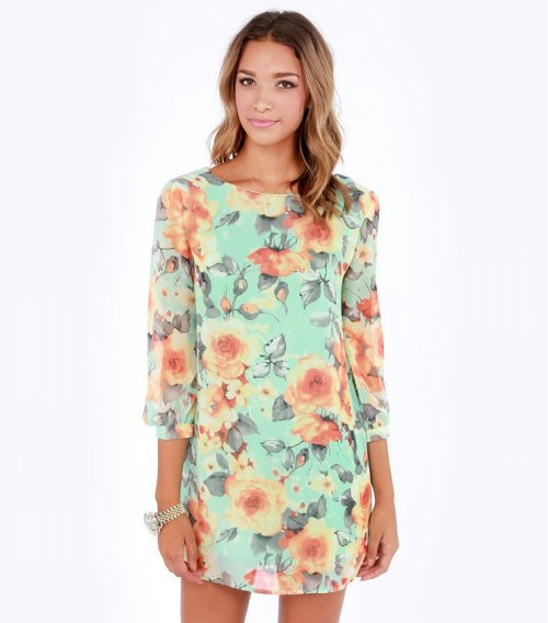 mint floral spring summer dress 2015 by Lulus