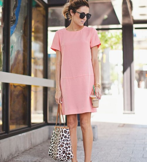 pink spring summer shift dress 2015 short sleeves