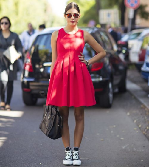 red spring summer dress 2015 bubble skirt