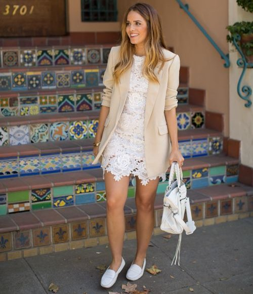 white lace spring summer dress 2015 and a blazer