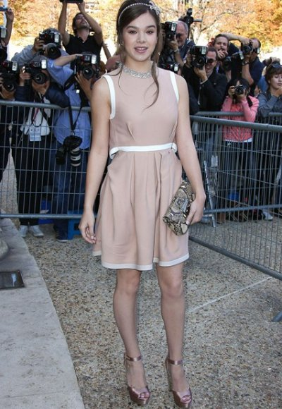 Hailee Steinfeld NYFW spring summer 2015 blush silk dress