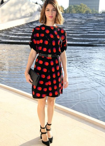 Sofia Coppola NYFW spring summer 2015 black orange dot dress