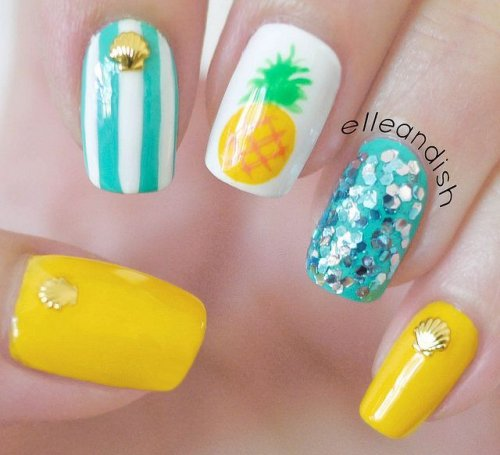 beautiful summery pineapple nail art style