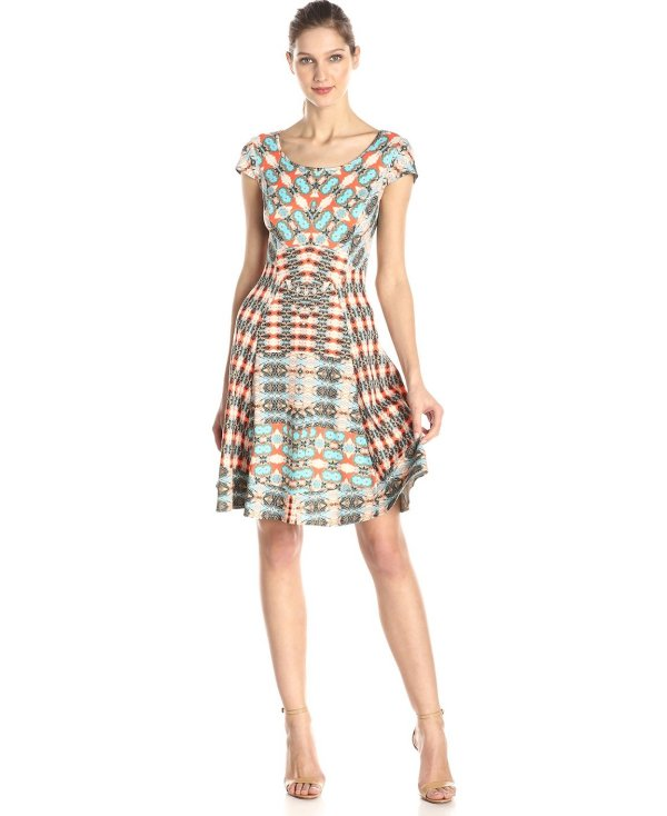 beige and blue printed casual summer dress 2015 by Maggy London
