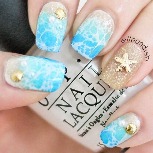 blue beach nail art for summer