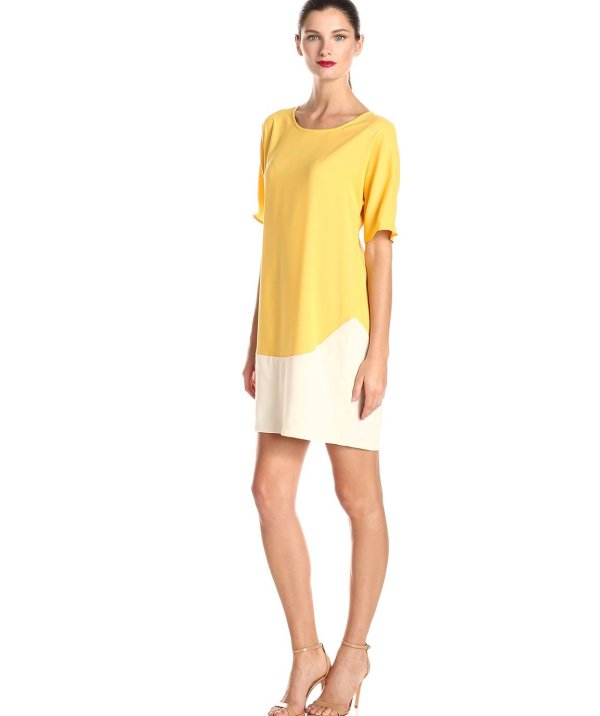 gorgeous casual flowy beige yellow summer dress 2015 by Donna Morgan