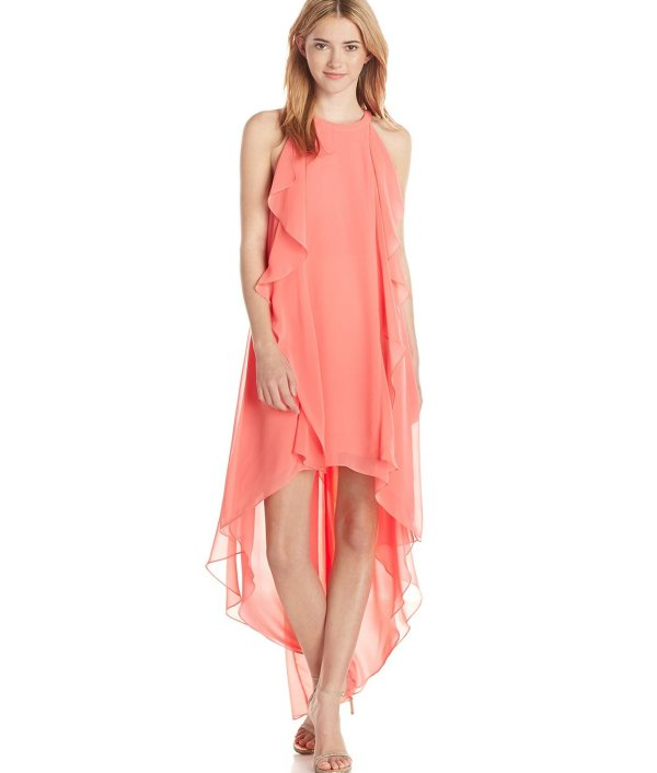 high low Pink Coral BCBGMax Azria Kelsia summer dress with ruffled details