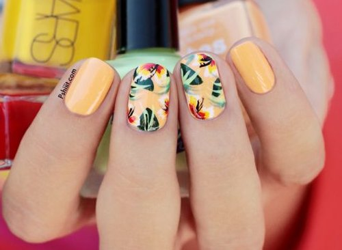 light orange tropical summer nails