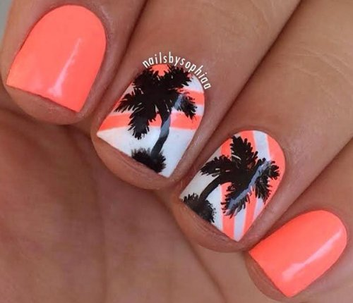 neon palm tree nail art for summer