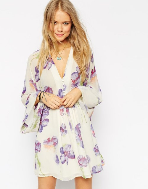 pretty floral lilac long sleeve cheap summer dress by asos