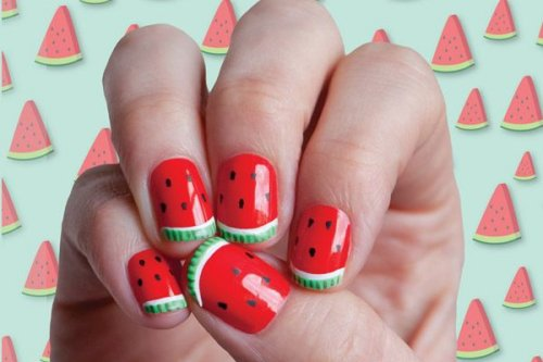 red watermelon nail art for summer