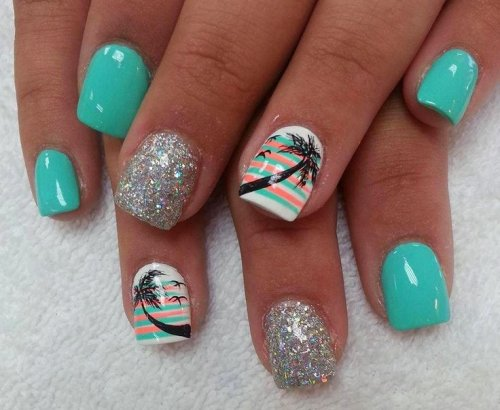 silver mint palm tree nail art for summer