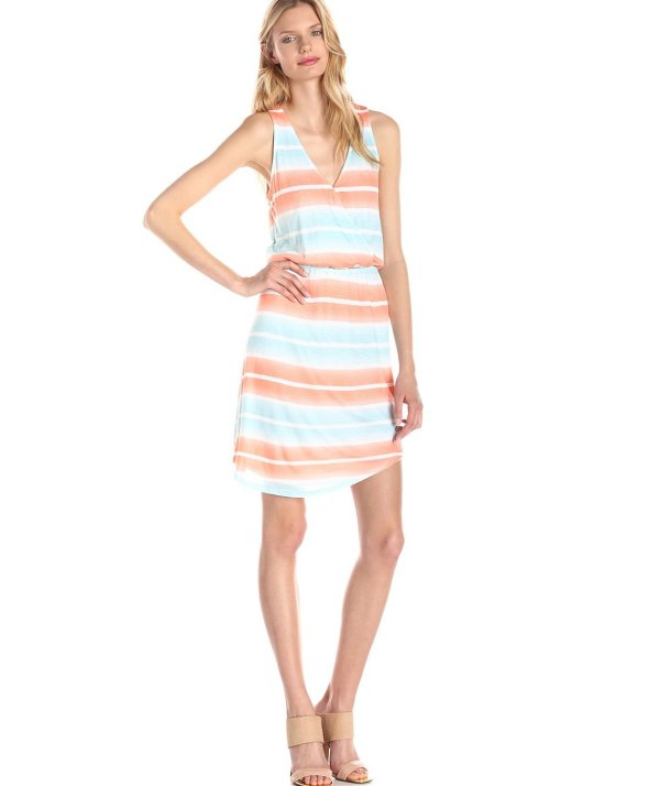 striped blue orange summer dress 2015 by Splendid