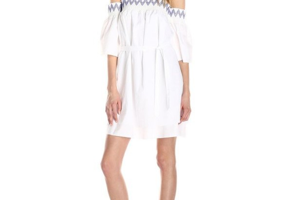 white off the shoulder summer dress 2015 by Rebecca Minkoff