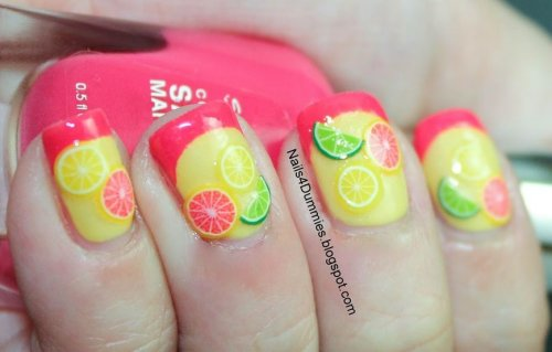 yellow citrus inspired summer nail art