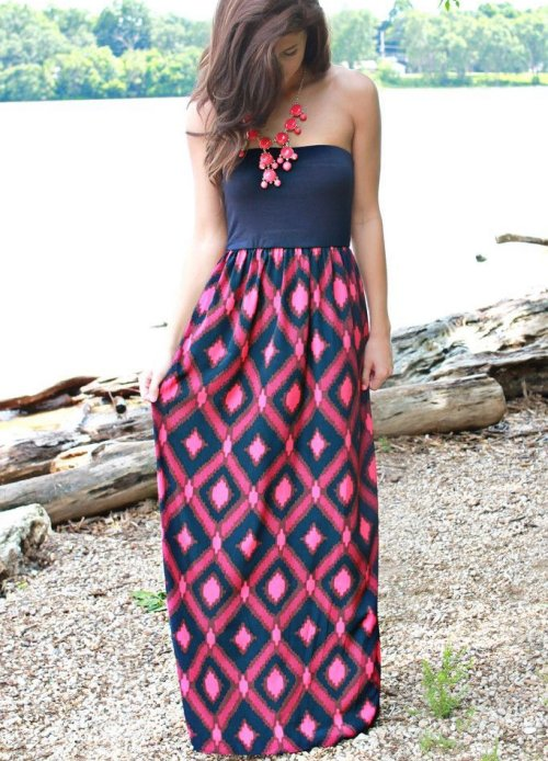 navy pink long summer dress for juniors