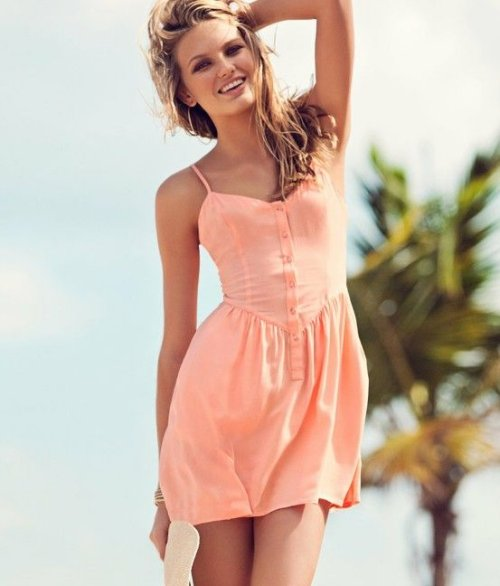 peach casual summer dress for juniros