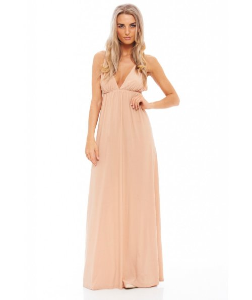 sexy nude maxi dress with v-neck 2015 by ax paris