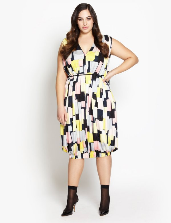 beth ditto plus size geometric print bubble dress