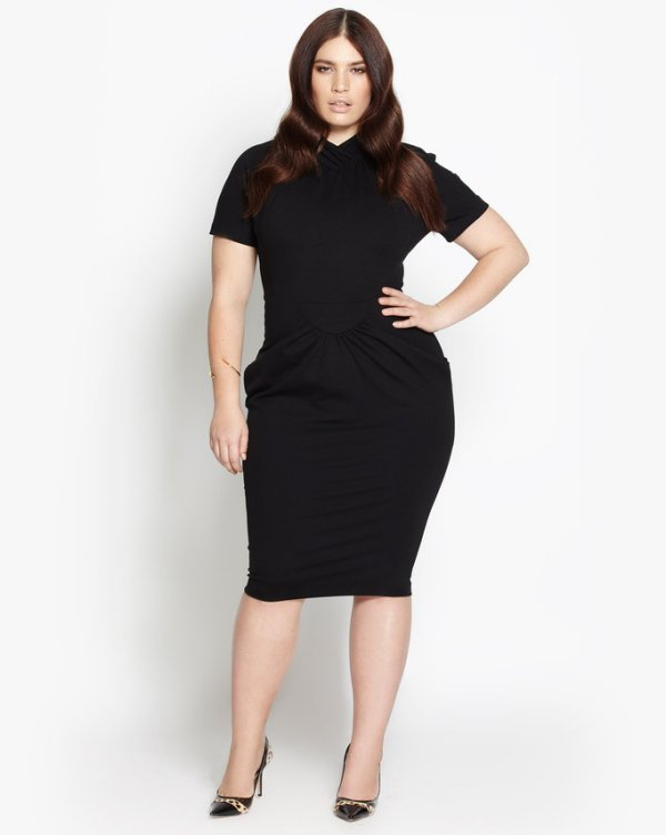 beth ditto plus size simple black summer dress 2016