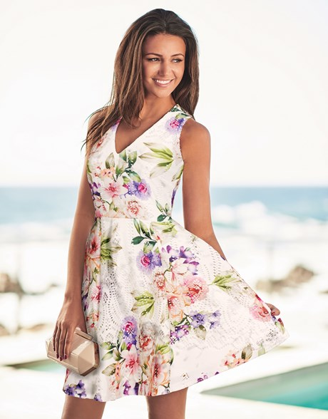 cute white floral v-neck summer dress by lipsy Michelle Keegan