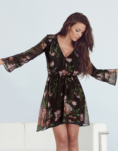 floral black long sleeve boho chic summer dress by lipsy Michelle Keegan